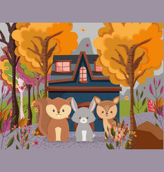 cute deer rabbit and squirrel cottage forest hello vector image