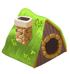 Cute fairy house dugout with chimney isolated on vector