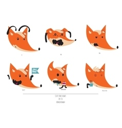 Cute set of playful foxes heads with vector