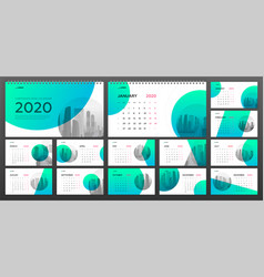 Desktop calendar 2020 template for business vector