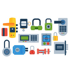 Different house door lock icons set safety vector