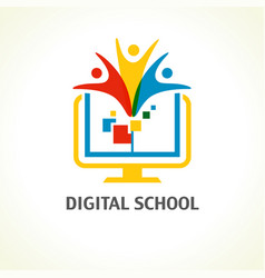 Digital school open book people logo vector