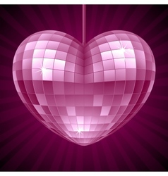 Disco Heart Purple mirror disco ball vector image