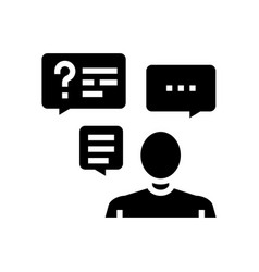 Discussion questions and answers glyph icon vector