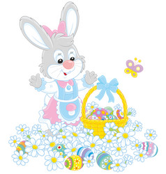 easter egg hunt in flowers vector image