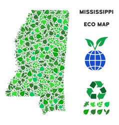 eco green mosaic mississippi state map vector image