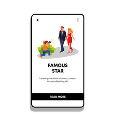 Famous star couple photographing paparazzi vector