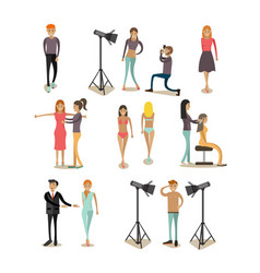 Flat icons set of fashion model people vector
