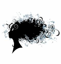 floral hairstyle woman face silhouette vector image