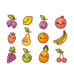 Fruit and berries in manga style vector