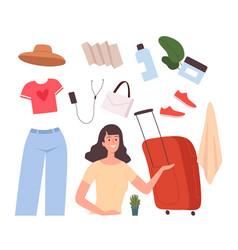 girl base travel stuff female baggage bag vector image