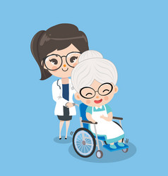 Girl doctor is taking care old woman patients vector
