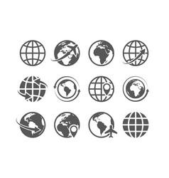 Globe icons set world earth map internet vector
