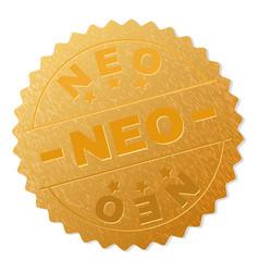 Gold neo award stamp vector