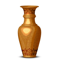 Golden ornate vase vector