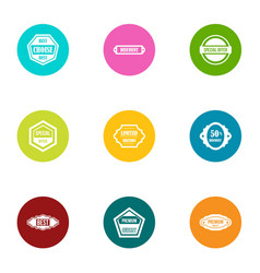 goodness sale icons set flat style vector image