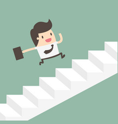 growth businessman running up stairs vector image