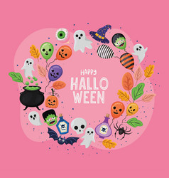 Halloween balloons and ghosts cartoons in circle vector