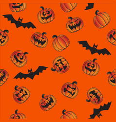 halloween pumpkins bats seamless repeating pattern vector image
