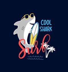 Hand drawing print design little sharks vector