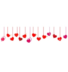 Hanging red hearts vector image