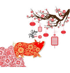 Happy chinese new year 2019 card year of pig vector