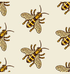 honey bee colored seamless pattern vector image