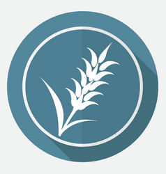 icon ears of wheat on white circle with a long vector image