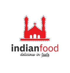 indian food logo design inspiration in red color vector image