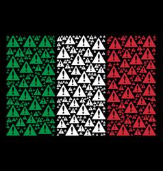 Italy flag pattern of warning items vector