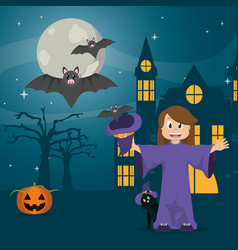Kid in halloween cartoon vector