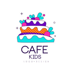 Kids cafe logo design bright badge with cake vector