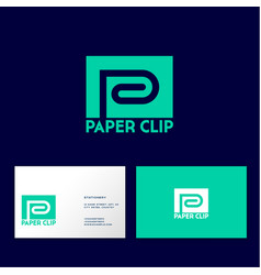 letter p like clip turquoise business card vector image