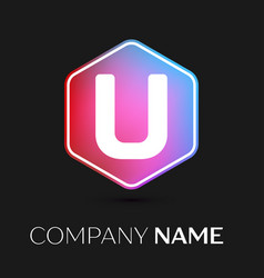 Letter u logo symbol in colorful hexagonal vector