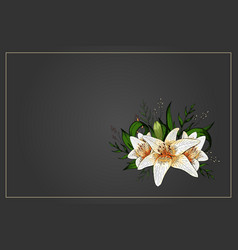 Lily bouquet on black background template vector