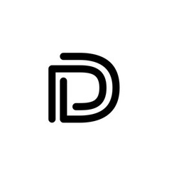 line art d letter d logo design template vector image