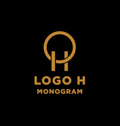 Luxury initial h logo design icon element isolated vector