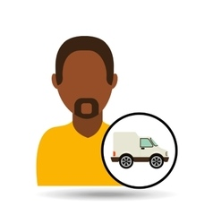 Man bearded character van vehicle transport vector