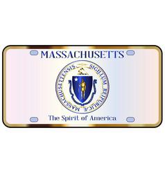 massachusetts license plate flag vector image