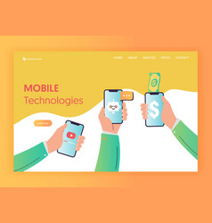 mobile app technologies landing page template vector image