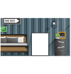 mock up poster frame in bedroom vector image