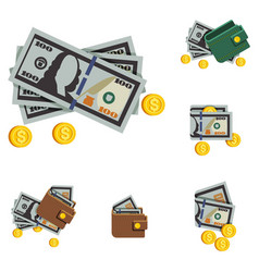 money icons and wallets icons vector image