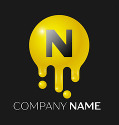 n letter splash logo yellow dots and bubbles vector image