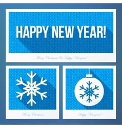New year symbols in flat style with knitted vector image