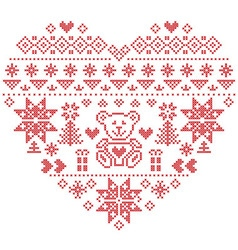 Nordic pattern in hearts shape with teddy bear vector image