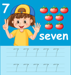 Number seven tracing alphabet worksheets vector