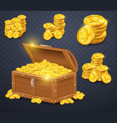 Old wooden chest with gold coins vector