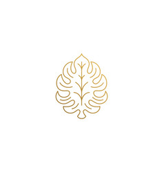 outline icon ornamental leaf hand drawn vector image
