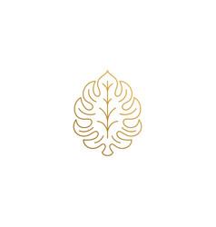 Outline icon ornamental leaf hand drawn vector
