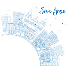 Outline san jose skyline with blue buildings and vector